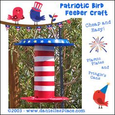 Fourth of July, 4th of July, Patriotic Crafts for Kids - Pringle's Can Bird Feeder Craft ©2003 from www.daniellesplace.com
