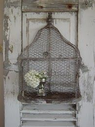 ChickenWire Birdcage - great for decor - I would love to see this with moss tucked into the floor, maybe a mossy branch with bromeliad inside, and/or bird - indoor or outdoor
