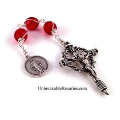 Three Hail Mary rosary chaplet in red faceted Czech glass beads. www.UnbreakableRosaries.com