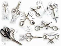 Umelec dotvára kresby pomocou rôznych predmetov