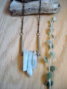 boho necklace, chalcedony necklace, long necklace, layering necklace, bronze, bronze bar necklace, FREE SHIPPING by kathywelshart on Etsy