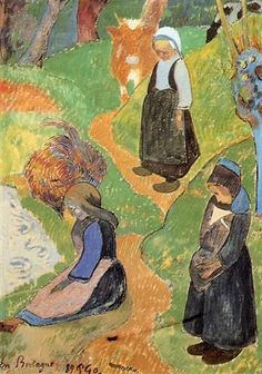 In Brittany by Paul Gauguin in watercolor on paper, done in Now in Whitworth Art Gallery. Find a fine art print of this Paul Gauguin painting. Paul Gauguin, Vincent Van Gogh, Henri Matisse, Impressionist Artists, Impressionism Art, Van Gogh Museum, European Paintings, Art Moderne, French Art