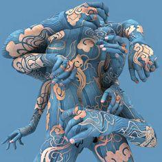 Kim Joon blue body paint