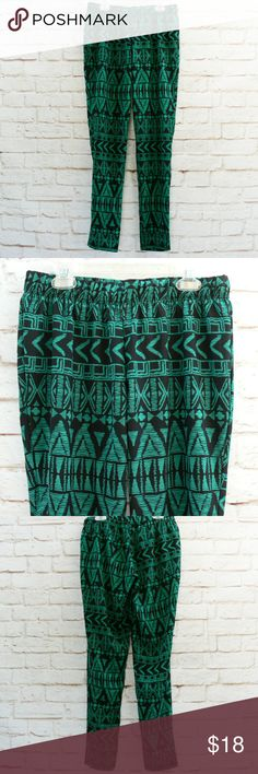 DEREK HEART Ethnic Print Joggers XS S Teal Black DEREK HEART Ethnic Print Joggers Harem Ankle Pants XS S Teal Green Black  One pair of pre-owned joggers from Kohl's, Derek Heart brand, size fits XS to S. Dark tealish green and black ethnic pattern. Lightweight fabric is polyester and machine washable. Elastic waist and tapered pants to ankle. No stains, no holes, no issues.  Measurements in inches: elastic top 28-38 hips 42 length 36 rise 8.5 inseam 29 Derek Heart Pants Track Pants & Joggers