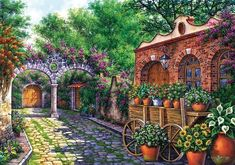 Art licensing company offering bright, vibrant art from artists in Latin America and around the world Image Fruit, Kinkade Paintings, Windsor, Image Nature, Flower Cart, Images Vintage, Wooden Jigsaw Puzzles, Mexican Artists, Autumn Painting