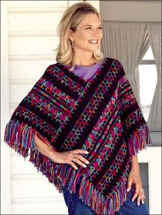 Free Crochet Embroidery Print Poncho Pattern.