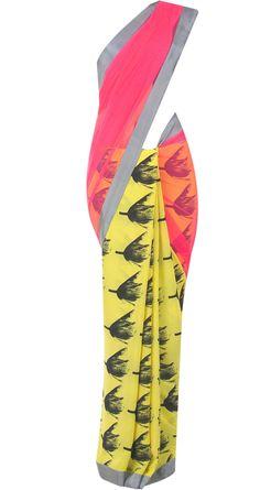 Yellow tulip print sari by MASABA. Shop at http://www.perniaspopupshop.com/whats-new/masaba-74