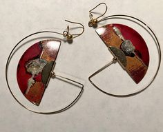 Vintage, Artisan Made, Enameled Copper, 1/2 Disk, Pierced Earrings With Added Gold Filled Wire In Red, Rust, Copper, Black, Gold And Silver