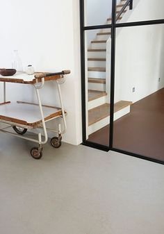 linoleum flooring Forbo Marmoleum at Home 2013 Terrazzo Flooring, Brick Flooring, Linoleum Flooring, Bathroom Flooring, Vinyl Flooring, Kitchen Flooring, Metal And Wood Chairs, Kitchen Eating Areas, Kitchen Storage Units
