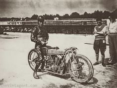 Bert LeVack on a JAP powered Brough on a speed attempt at Brooklands