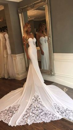 Unique Mermaid Sheer Neck Wedding Dresses with Lace, Unique Ivory Bridal Dresses on sale – SmilePromDress Spaghetti Strap Wedding Dress, Open Back Wedding Dress, Wedding Dresses With Straps, Wedding Dress Chiffon, Sweetheart Wedding Dress, Sexy Wedding Dresses, Mermaid Wedding, Bridal Dresses, Wedding Gowns