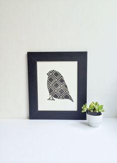 Hand pulled midcentury style bird Linocut Art by RetroModernArt