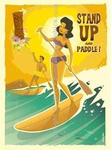 Stand up and paddle poly pop tiki art
