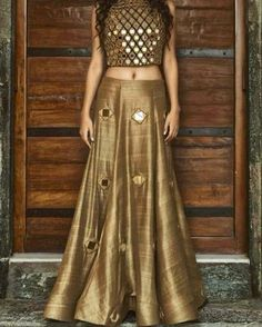 lehenga blouse design in golden color and mirror work Pakistani Dresses, Indian Dresses, Indian Outfits, Western Dresses, Indian Look, Indian Ethnic Wear, Indian Bridal Wear, Lehenga Blouse, Lehenga Choli