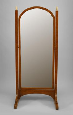 French Art Deco amboyna wood cheval mirror with framed beveled mirror glass, banded inlaid trim, and white painted finials. Cheval Mirror, French Mirror, Beveled Mirror, Art Deco, House Styles, Wood, Glass, Comic, Furniture