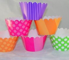 Candy Land Cupcake Wrappers in Pink, Orange, Green, and Purple for Halloween or Birthday Party. $10.00, via Etsy.