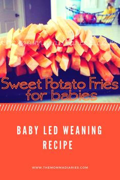 Sweet potato fries baby led weaning recipe, Sweet Potato fries for babies, Baby led weaning recipes, rezepte mittagessen baby 1 jahr baby 10 monate baby led weaning Sweet Potatoes For Baby, Easy Sweet Potato Fries, Sweet Potato Recipes, Baby Food Recipes, Sweet Potato Baby Food, Toddler Recipes, Snack Recipes, Tofu, Fry Baby