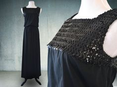 1970s Black Cocktail Dress Maxi Dress Sequined by YellowBeeVintage