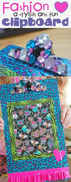http://creativemeinspiredyou.com/funky-fun-clipboard/ What a great idea to do with boring clipboards, glam it up and make a fun back to school gift for kids, college kids, teachers or coaches.