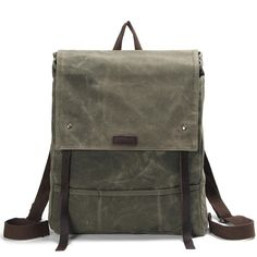 "Waxed Canvas Leather Backpack Waterproof Rucksack Mens Canvas Backpack AF17 Model Number: AF17 Dimensions: 14.2""L x 3.9""W x 16.9""H / 36 cm(L) x 10 cm(W) x 43 cm"
