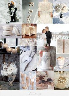 Mood board pour un mariage hiver. Macarons blancs, figurines de mariés, boules de neige et bouquets de fleurs blanches.