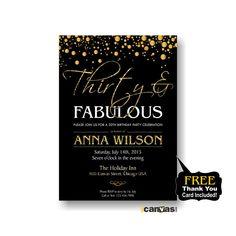 30th 40th 50th 60th 70th 80th birthday Invitation for Men Women. Any age. Golden Glitter, Elegant Adult Birthday Invitation Printable #158 by 800Canvas on Etsy