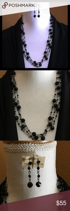 BCBG Necklace and Earrings Brand New BCBG Necklace earrings the necklace you could wear on your Necklace 2 ways like long ways or wrap it  2 layers Great Condition no issues  smoke free home BCBGMaxAzria Accessories