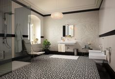 Divine bathroom styles ... lots of great ideas/elements in the many photo examples here, but especially like this b scheme with the spiral design on the floor.