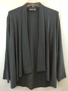 Chico's Travelers 0 Gray Draped Open Front Slinky Cardigan Jacket XS S 4 6 #Chicos #KnitTop #Casual