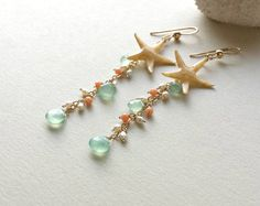 Starfish Dangle Earrings, Real Starfish, Peach Aqua Cluster Dangle, Beach Cluster Earrings, Boho Beach Earrings, Peach Coral