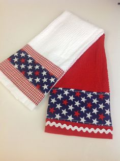 Patriotic dish towel, 4th of July, red white blue, decorative kitchen towel