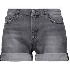 Current/Elliott - The Boyfriend Denim Shorts ($89) ❤ liked on Polyvore featuring shorts, grey, american shorts, fold over shorts, cuffed denim shorts, grey cotton shorts and american jean shorts