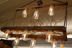 great light fixture from reclaimed materials