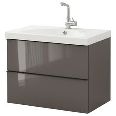 GODMORGON / EDEBOVIKEN Sink cabinet with 2 drawers - high gloss gray - IKEA