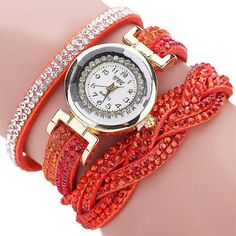 Fashion Metal Watch Bracelets for Womens Rhinestone Analog Quartz