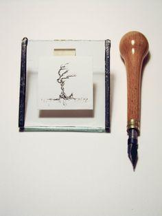 Miniatur Original Tinte Baum Zeichnung 5 in von emporiumJULIUM