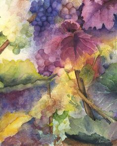 A watercolor painting of Grapes on the vine, autumn magic!