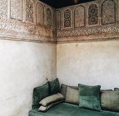room in Morocco (poeticeyess) Interior Styling, Interior Design, Rock The Kasbah, Moroccan Interiors, Moroccan Furniture, Yellow Doors, Cozy Corner, Velvet Cushions, Moorish