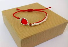 Silver Pebble Bracelet with Pearls, Adjustable Red Cord, Handmade Summer Trends, Red Resin,Minimal Chic / Gift for Her by VickyKyritsi on Etsy