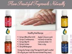 Recipe for healthy nails ~ Young Living Essential Oils ~ Therapeutic Grade Oils. Essential Oil Nebulizer, My Essential Oils, Therapeutic Grade Essential Oils, Young Living Essential Oils, Essential Oil Blends, Living Essentials, Healthy Oils, Healthy Hair, Essential Oils