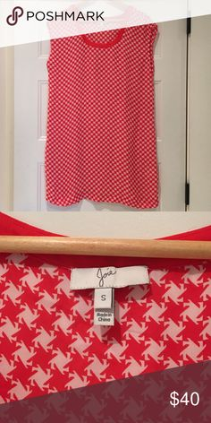 Joie mini dress Bright red and white houndstooth print sleeveless mini dress. Never worn. Is not lined. Joie Dresses Mini