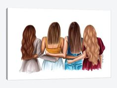 Best Friend Sketches, Friends Sketch, Best Friend Drawings, Girly Drawings, Easy Drawings, Best Friends Cartoon, 4 Best Friends, Friend Cartoon, Best Friends Forever