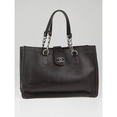 Chanel Dark Brown Leather Large Chain Tote Bag