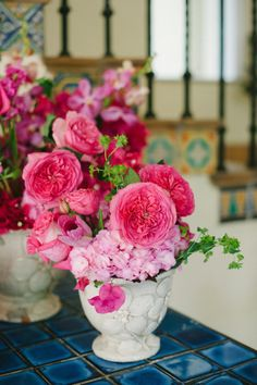 Hot pink garden roses garden inspired centerpieces Gallery & Inspiration | Picture - 1806146