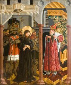 Chrystus przed Kajfaszem. Kwatera z retabulum ołtarza głównego z kościoła augustianów w Krakowie, 1468