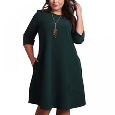 Cheap clothes fashion, Buy Quality fashion clothes directly from China plus size dress Suppliers: Big Size Dresses Office Ladies Plus Size Casual Loose Autumn Dress Pockets Green Red Fashion Dress Vestidos Women Clothes Red Fashion, Women's Fashion Dresses, Casual Dresses, Fashion Clothes, Casual Wear, Fashion Women, Fashion Ideas, Casual Outfits, Plus Size Womens Clothing