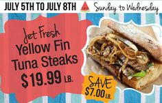 June 5 - Yellowfin Tuna Steaks on sale at McGinnis Sisters Yellowfin Tuna, Tuna Steaks, Cheesesteak, Tacos, Sisters, June, Fresh, Ethnic Recipes, Food