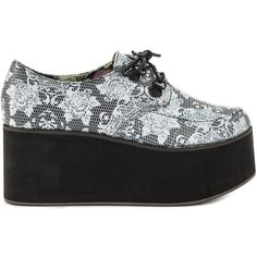 Iron Fist Women's Midnight Widow Creeper - Blk ($60) ❤ liked on Polyvore featuring shoes, black and white wedge shoes, black white shoes, floral shoes, multi color shoes and wedges shoes