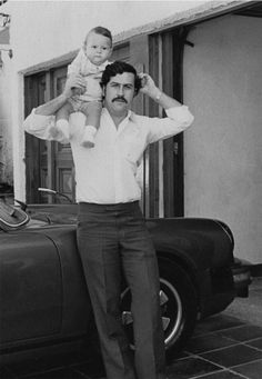 Pablo Escobar, the proud father. Pablo Emilio Escobar, Pablo Escobar Son, Pablo Escobar Family, Narcos Escobar, Mafia Gangster, Crime, Las Vegas Trip, Mug Shots, Poses