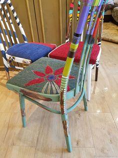 Купить или заказать Лесной в интернет-магазине на Ярмарке Мастеров. деревянный стул. Отреставрированный. Ручная роспись в стиле 'бохо'. Яркий, красивый. Украсит интерьер в пастельных тонах.